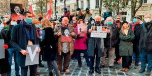 """بالفيديو ـ احتجاج في فرنسا على اغتيال سليم: """"المجرم والقاتل واحد"""""""